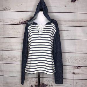 Venus Blue and White Striped Tie Hoodie Sweatshirt